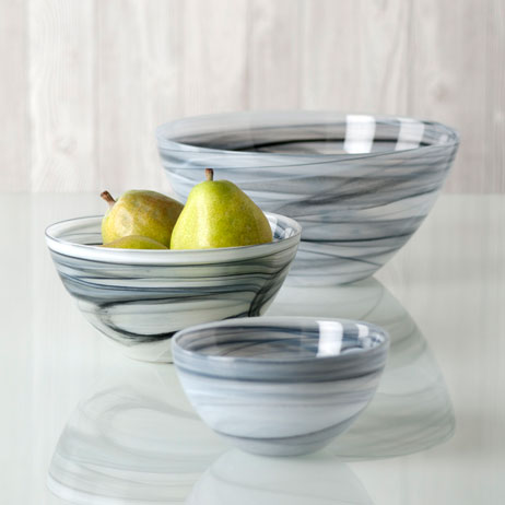 polished alabaster round bowl - gray