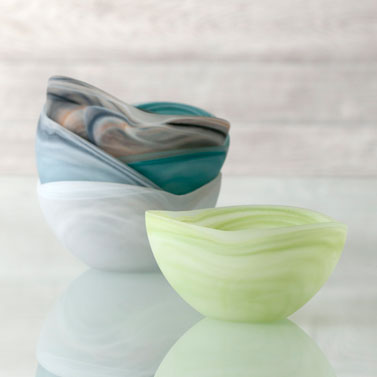 Shiraleah Home Accessories: frosted alabaster freeform bowl