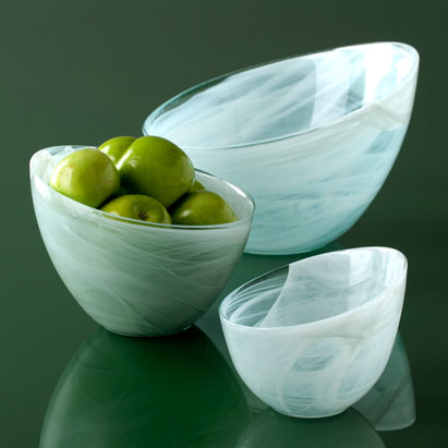 Shiraleah Home Accessories: alabaster slanted bowls - glacier