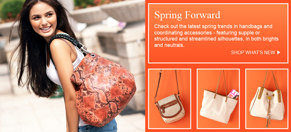 Spring Forward:  Check out the latest spring trends in vegan handbags and  coordinating accessories - featuring supple or  structured and streamlined silhouettes, in both brights  and neutrals.
