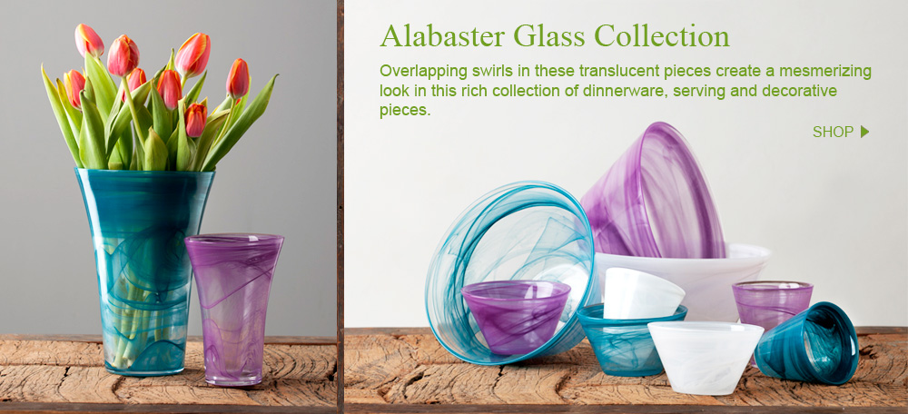 Alabaster Glass Collection: Overlapping swirls in these translucent pieces create a mesmerizing look in this rich collection of dinnerware, serving and decorative pieces.