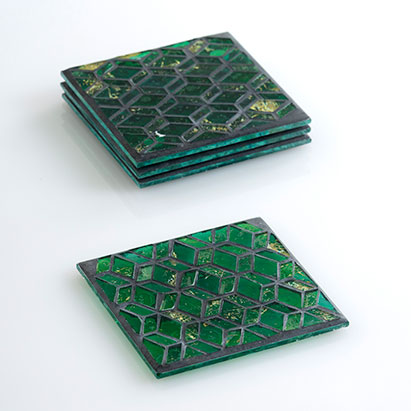 set of 4 slimane mosaic coasters