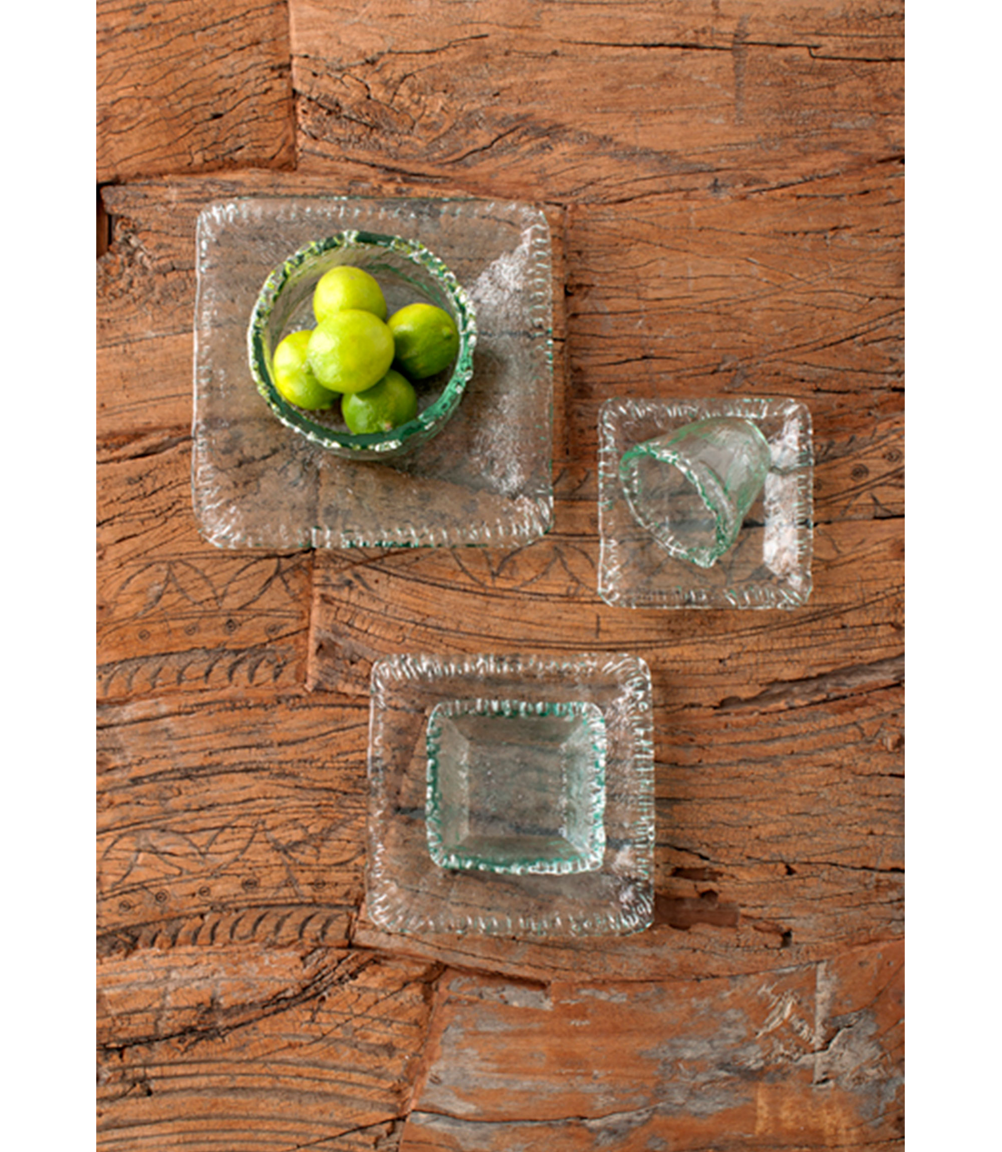 rustic square bowl - clear - s/4