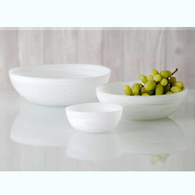 frosted alabaster shallow round bowl - white