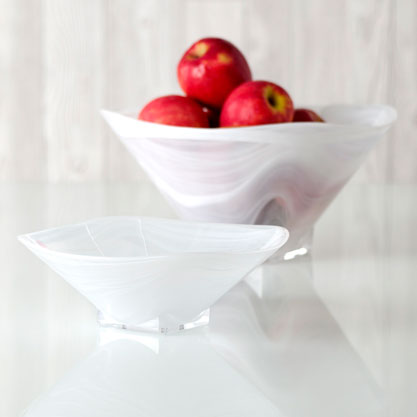 polished alabaster squared bowl - white