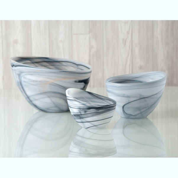 frosted alabaster slanted bowl - gray
