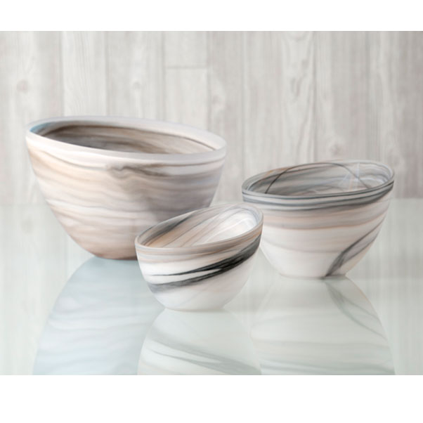 frosted alabaster slanted bowl - taupe