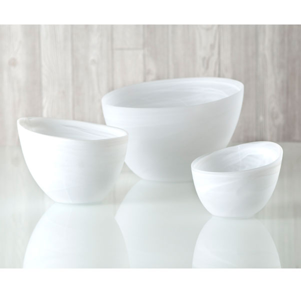 frosted alabaster slanted bowl - white